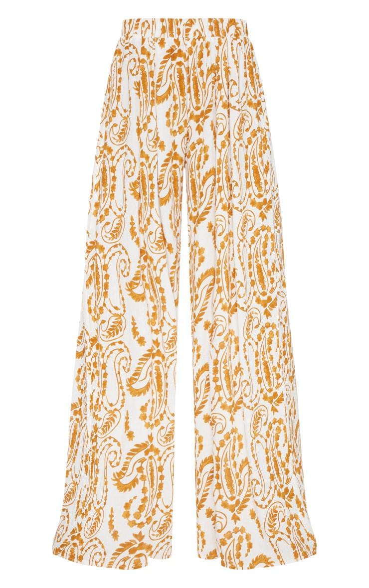 White Paisley Print Wide Leg Pants 3