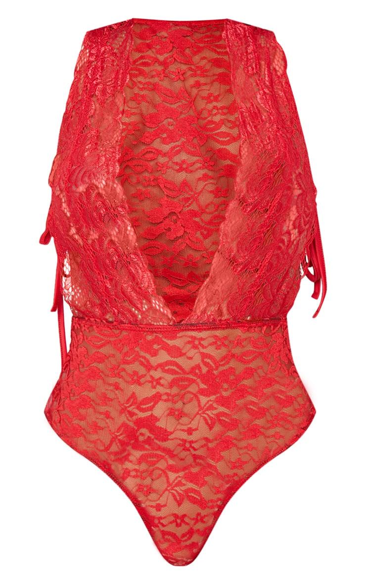 Shape Red Sheer Lace Tie Side Bodysuit 3