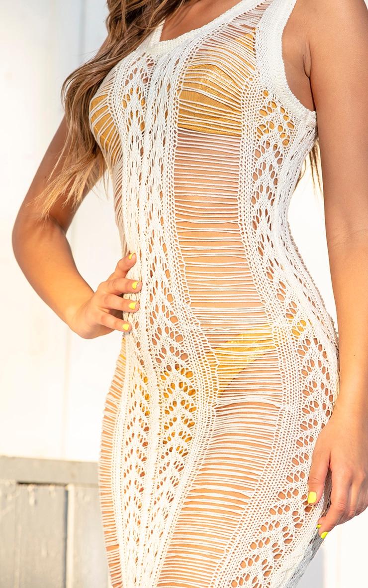 Cream Crochet Ladder Detail Maxi Dress 5