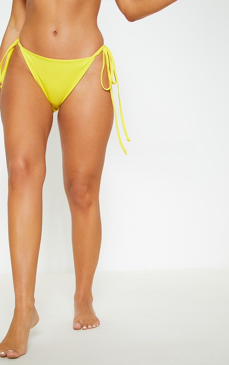 Yellow Mix & Match Tie Side Bikini Bottom 2