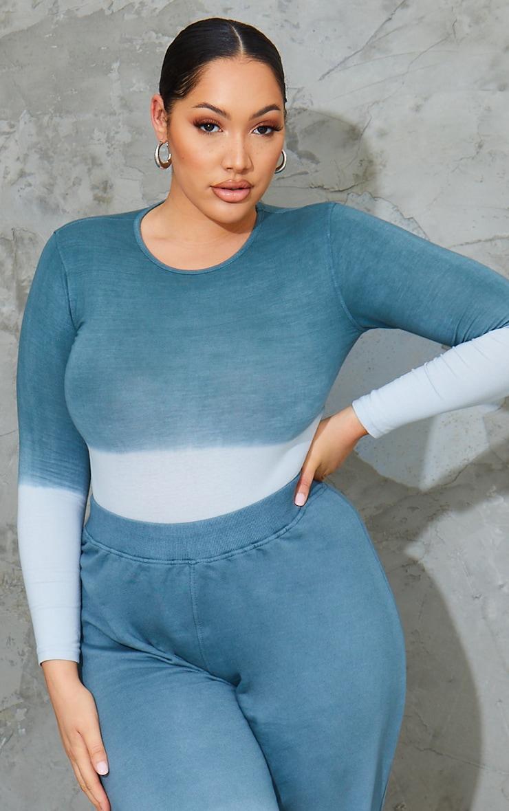 Plus Blue Ombre Cotton Long Sleeve Bodysuit 1
