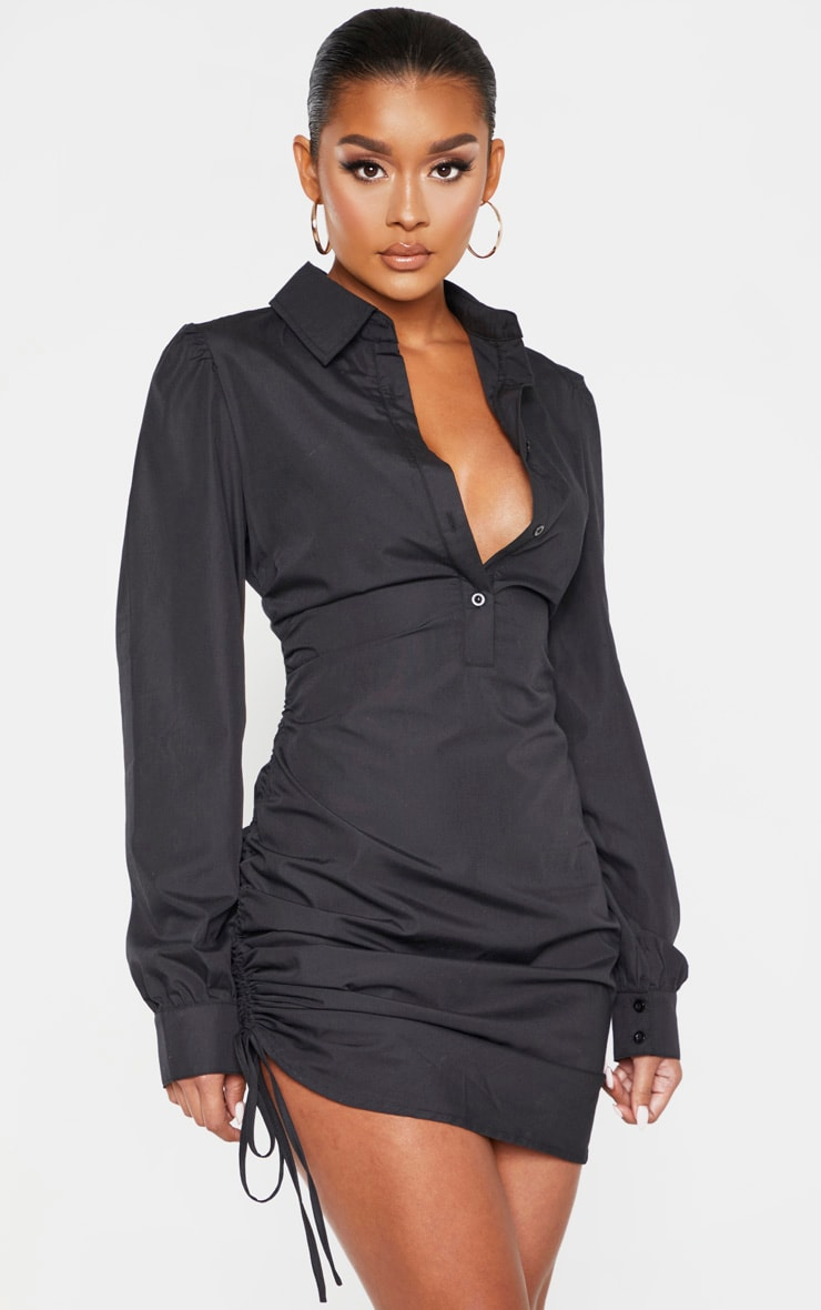 Black Ruched Side Fitted Shirt Dress 1