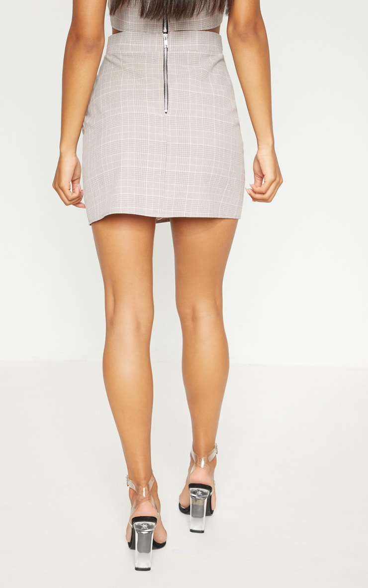 Mocha Check High Waisted Skirt 5