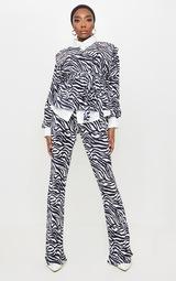 Black Zebra Print Shoulder Pad Wrap Plisse Blouse 3