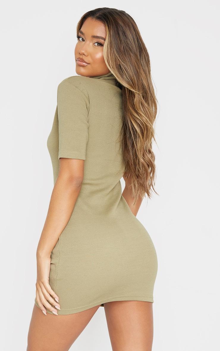 Khaki Rib High Neck Short Sleeve T Shirt Dress 2