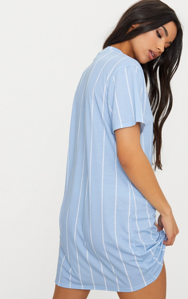Pastel Blue Stripe Print T Shirt Dress 2