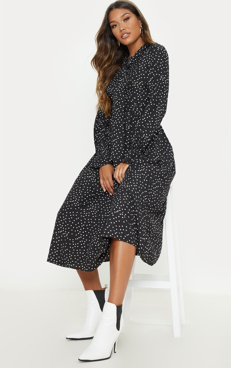 Black Polka Dot Tie Neck Floaty Midi Dress 4