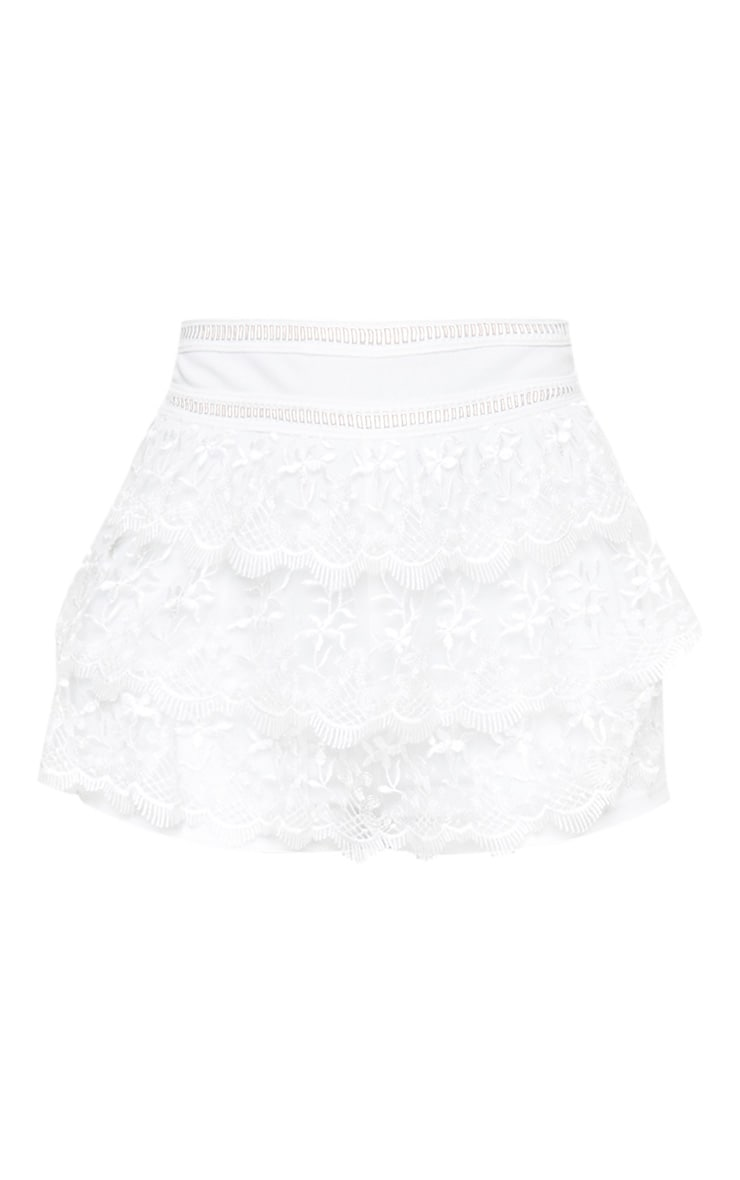 White Mesh Embroidered High Waisted Hot Pants 3