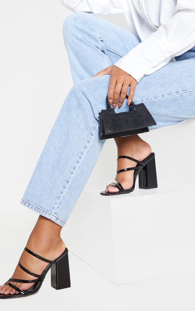 Black Block Heel Strappy Mule Sandal 1