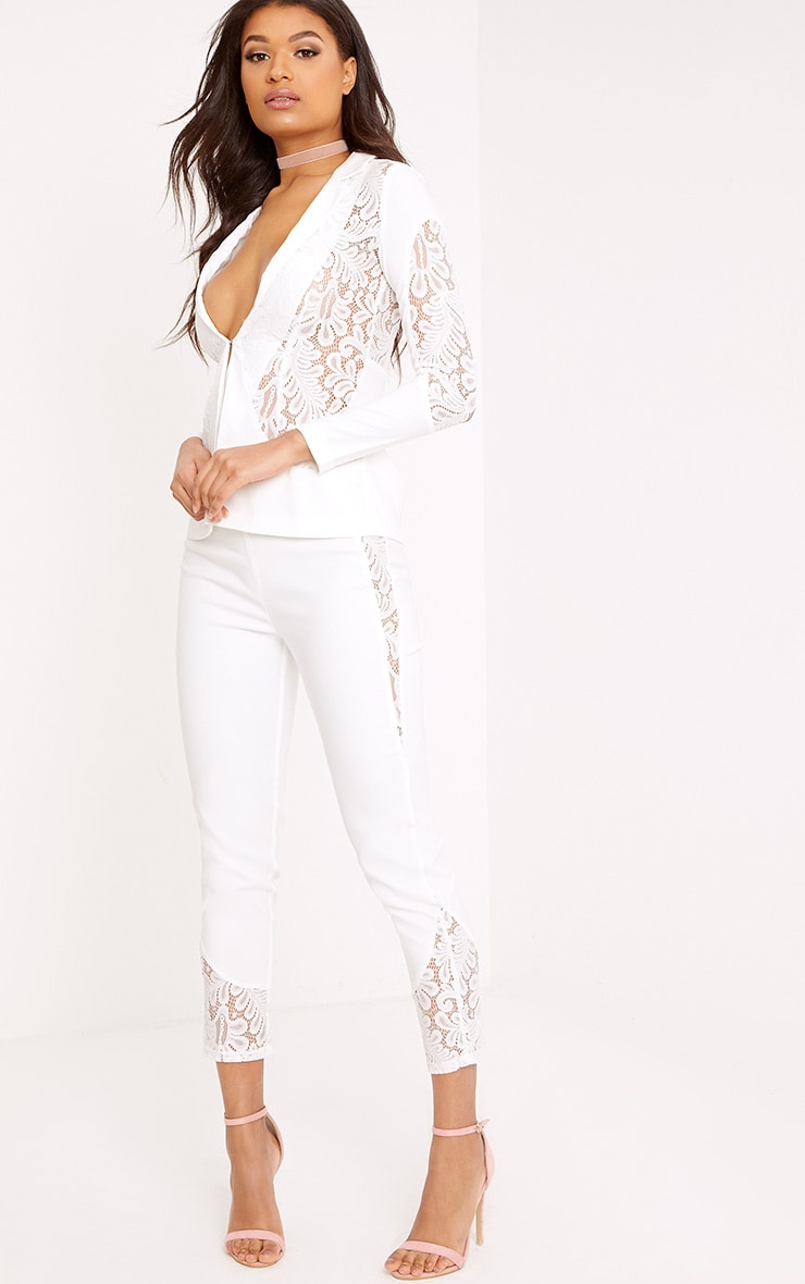 Mikaylah White Lace Insert Suit Trousers 1