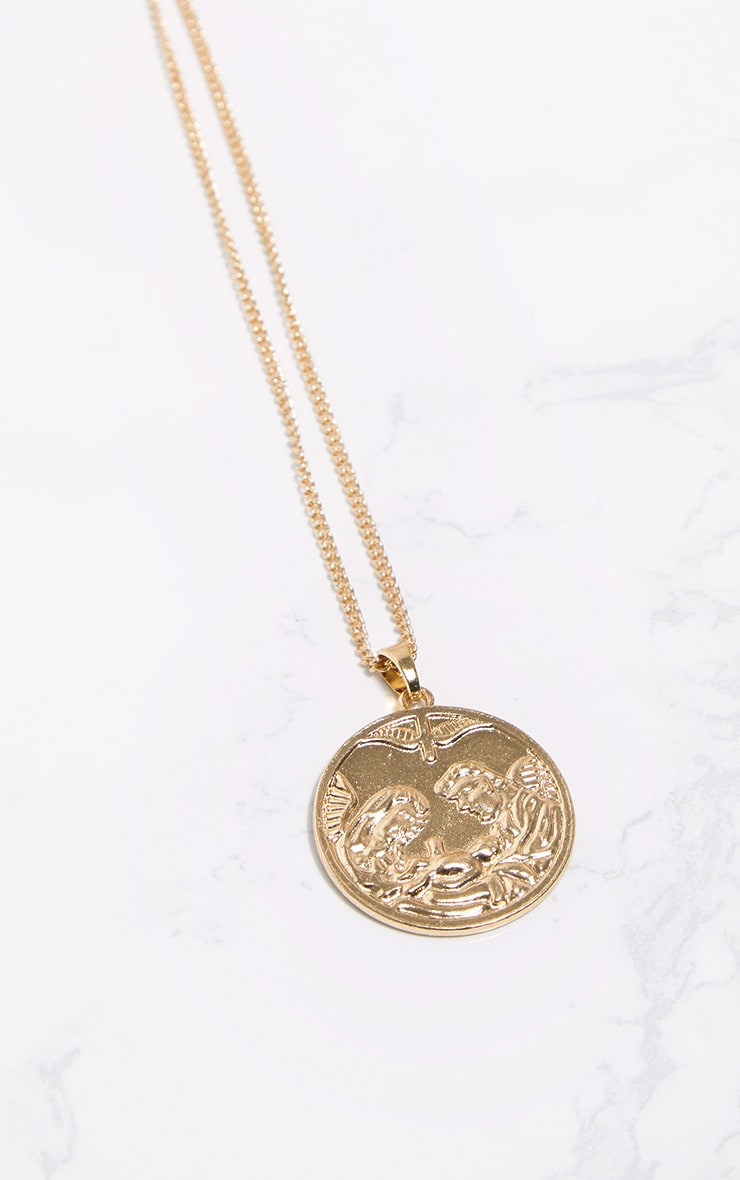Gold Renaissance Angel Medallion Necklace 3
