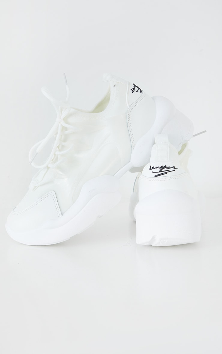 White PU Bubble Sole Lace Up Sneakers 3