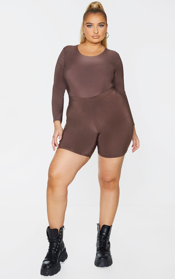 Plus Dark Brown Slinky Cycle Shorts 1
