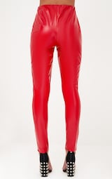 Red Vinyl Skinny Lace Up Pants 4