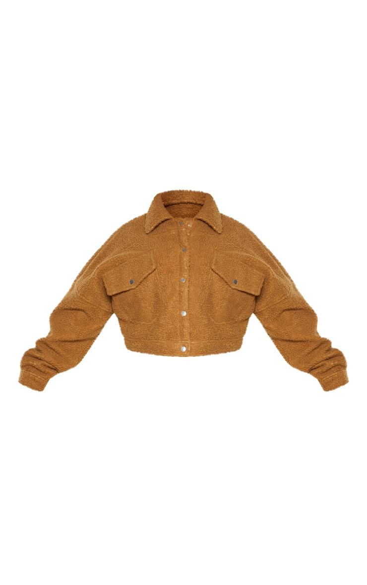 Plus Camel Cropped Borg Trucker Jacket 3