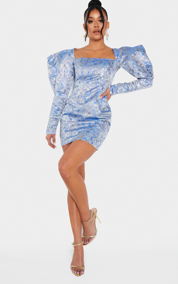 Navy Extreme Puff Sleeve Jacquard Bodycon Dress 4