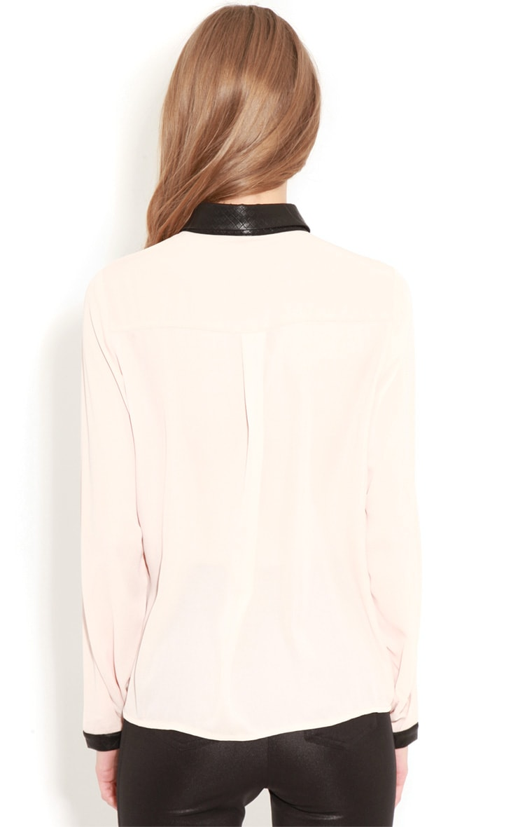 Frances Peach Chiffon Blouse With Faux Leather Collar 2