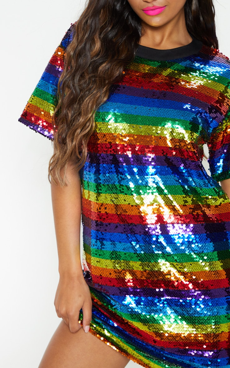 Multi Sequin Stripe Oversized Dress  6