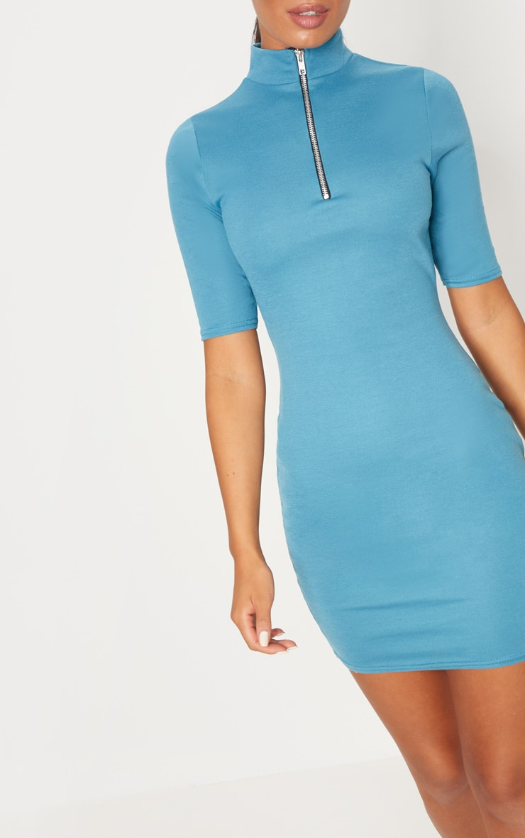 Mineral Blue Zip Detail Bodycon Dress 6