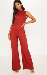 76bf3245b337 Rust High Neck Jersey Wide Leg Jumpsuit image 2