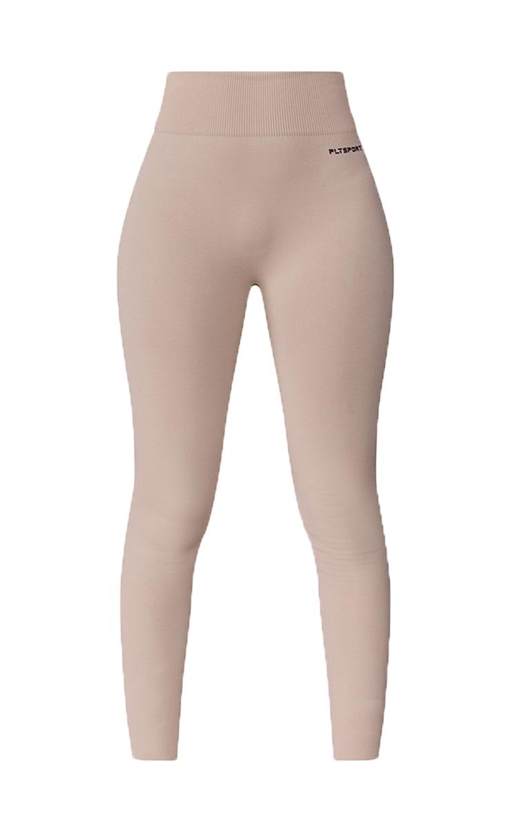 PRETTYLITTLETHING Mocha Sport Deep Waist Seamless Leggings 5