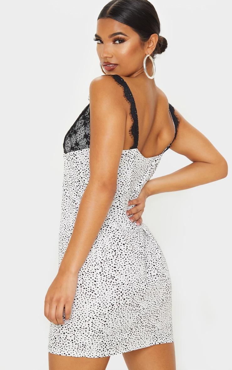 Beige Dalmatian Print Lace Cup Detail Shift Dress 2