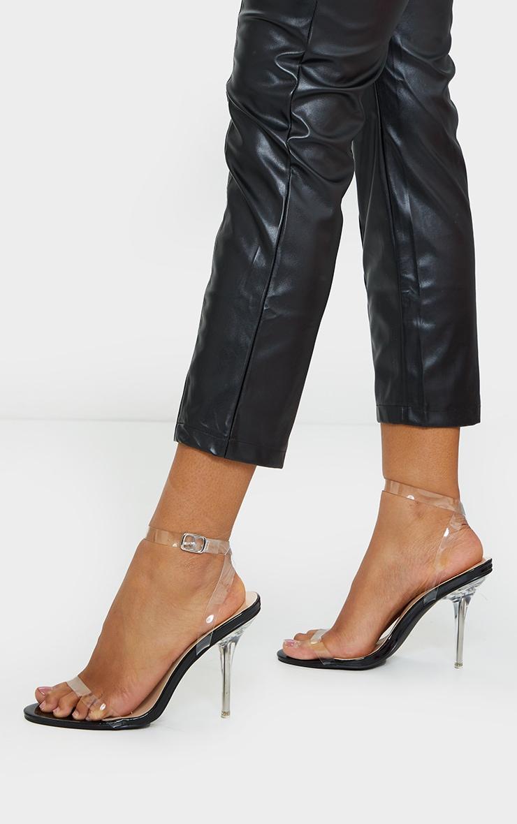 Black Wide Fit Clear Heel Single Strap Sandal 1