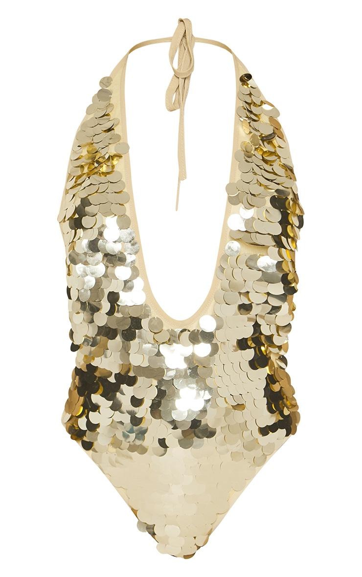 Petite Gold Sequin Plunge Swimsuit 3