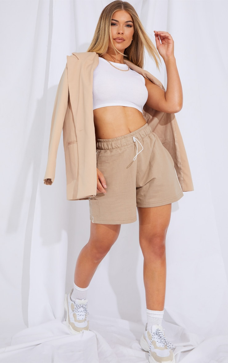 Taupe Toggle Detail Side Stripe Runner Shorts 4