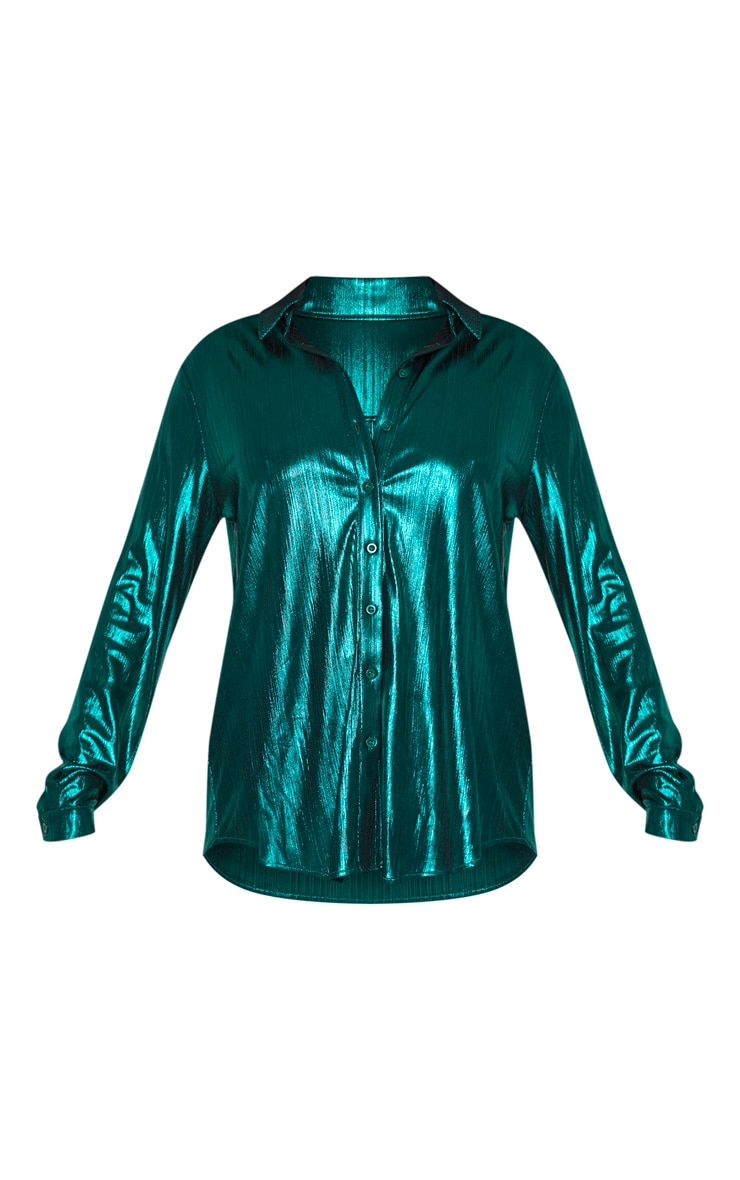 Green Metallic Button Front Shirt 3