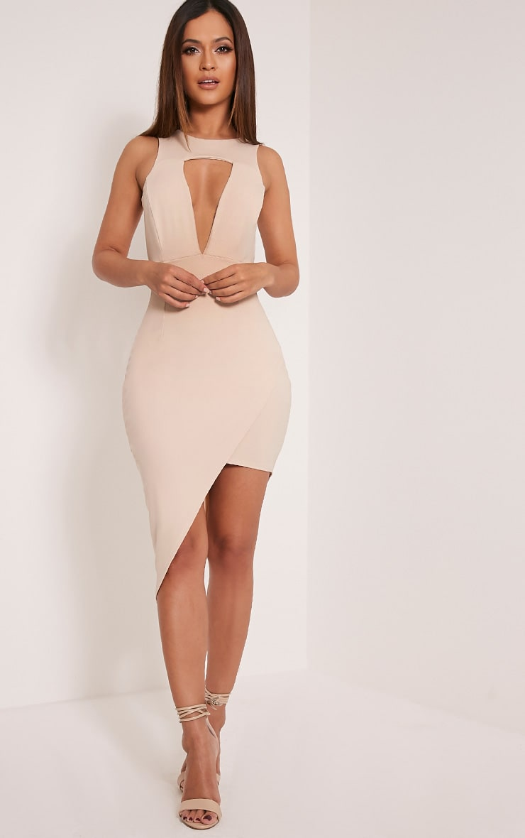 Eron Taupe Cut Out Plunge Asymmetric Mini Dress 1