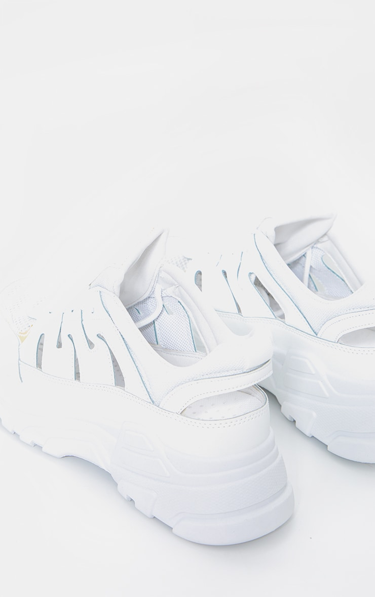 White Chunky Sole Detail Sneakers 3