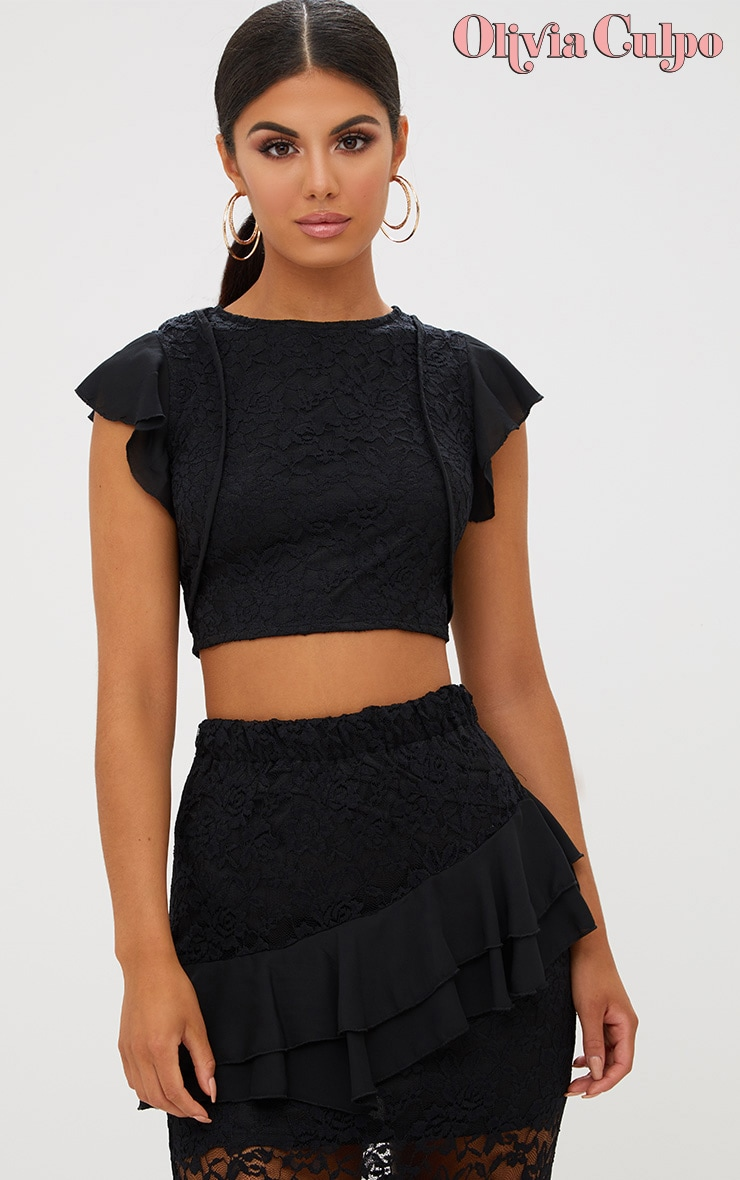 Black Lace Frill Sleeve Detail Crop Top 1