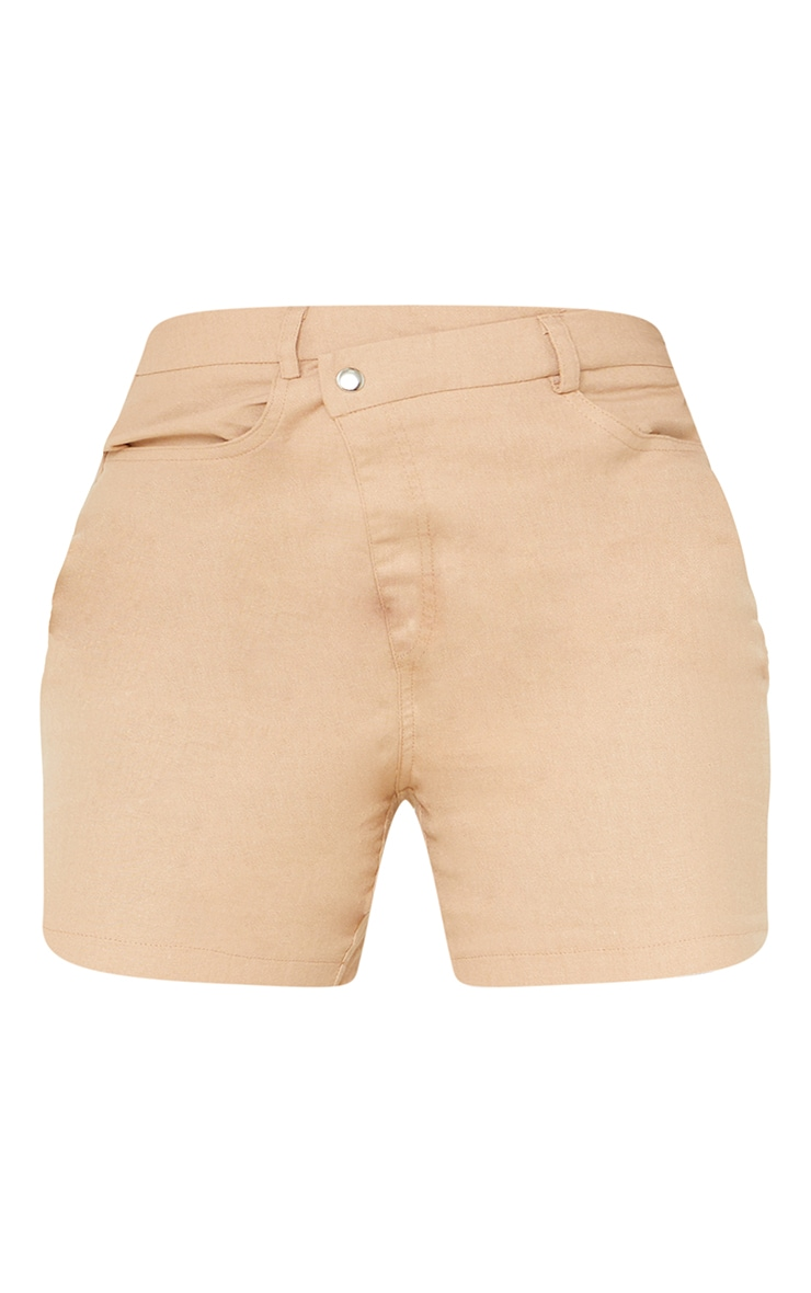 Tall Stone Linen Look Asymmetric Shorts 6