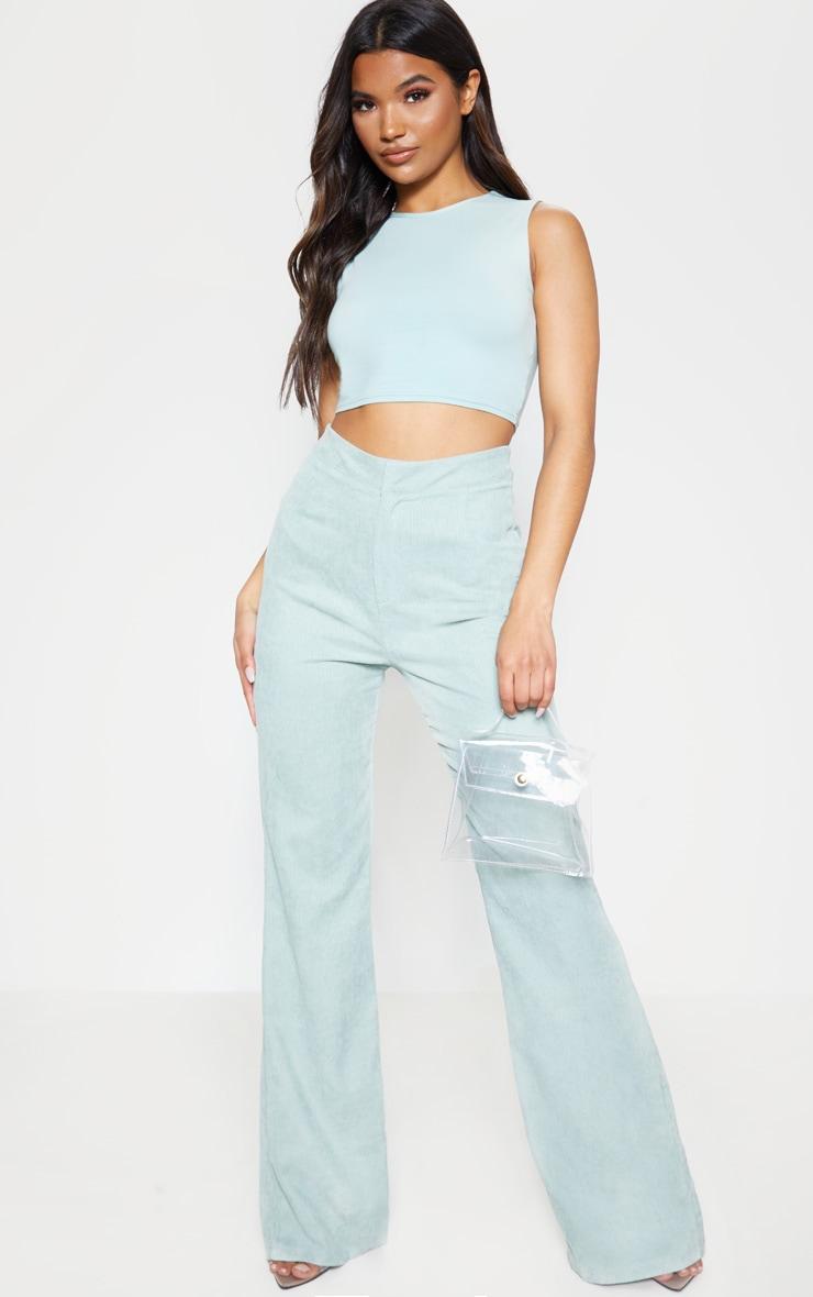 Sage Green Cord Flare Pants 1