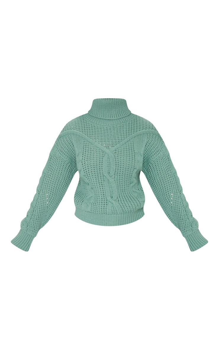 Petite Sage Green Roll Neck Knitted Long Sleeve Jumper 6