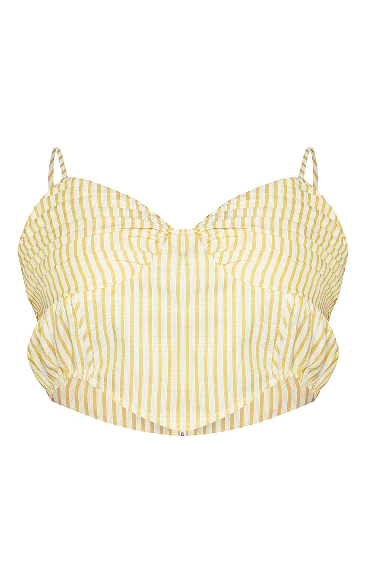 Plus Yellow Stripe Curved Hem Ruched Cup Crop Top 5
