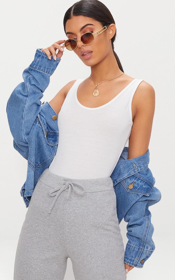 Basic Cream Jersey Longline Vest 1