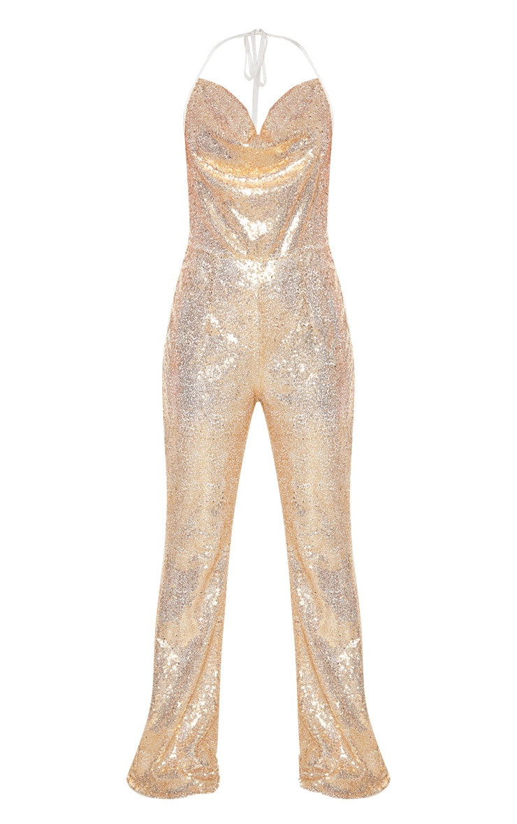 Gold Sequin Cowl Neck Halterneck Jumpsuit 3