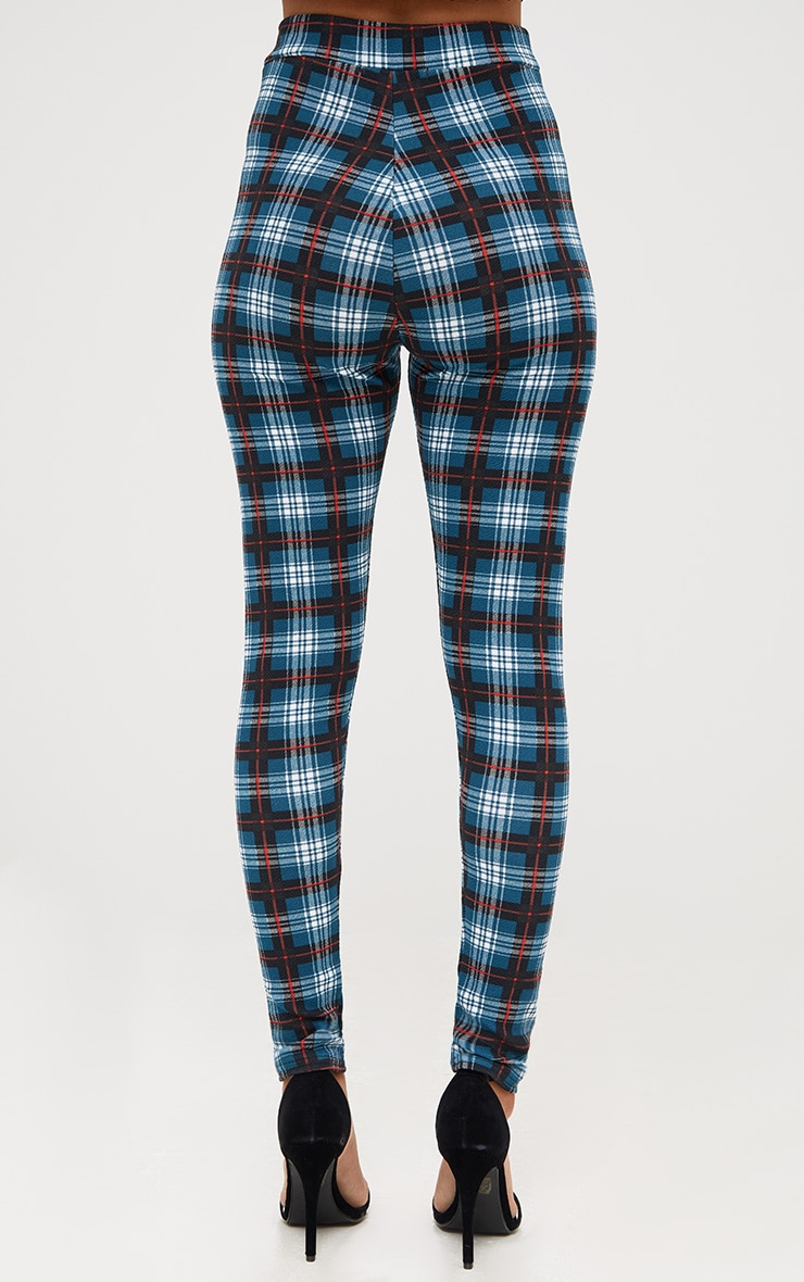 Forest Green Check Applique Skinny Trousers 4