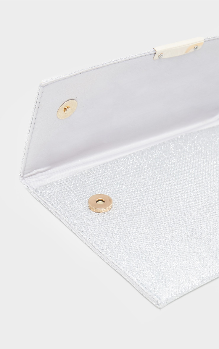 Silver Textured Glitter Basic Clutch 3