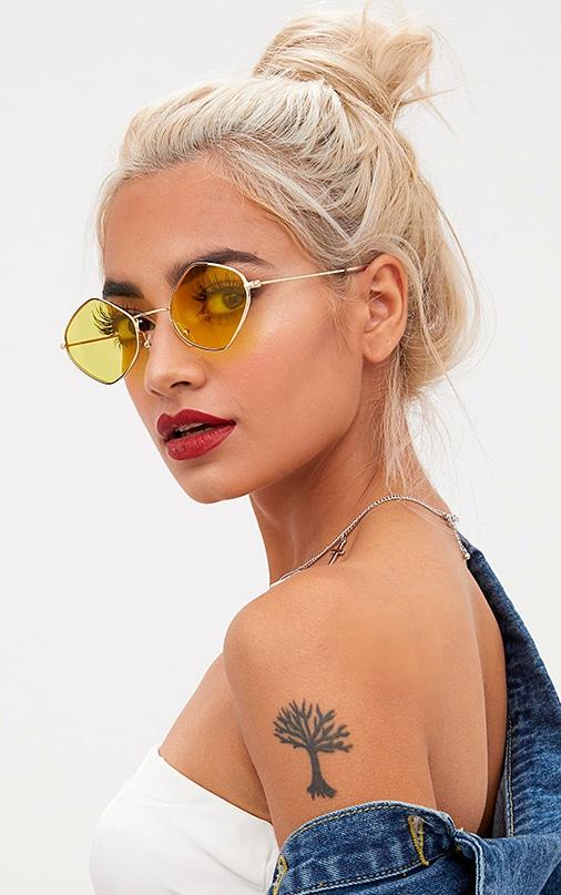 Yellow Diamond Shape Sunglasses 2