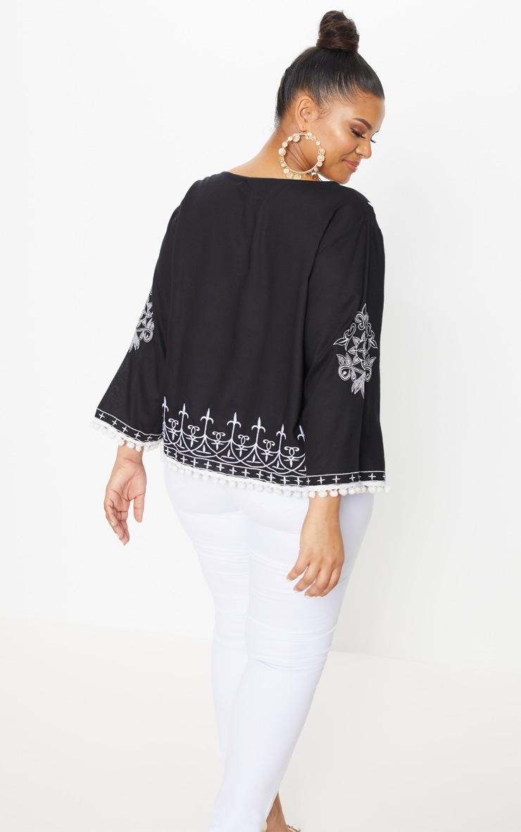 Plus Black Embroidered Pom Pom Trim Top 2