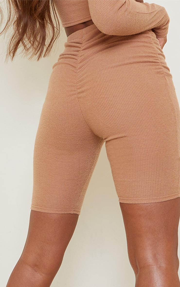 Camel Soft Brushed Rib Ruched Front Cycle Shorts 5