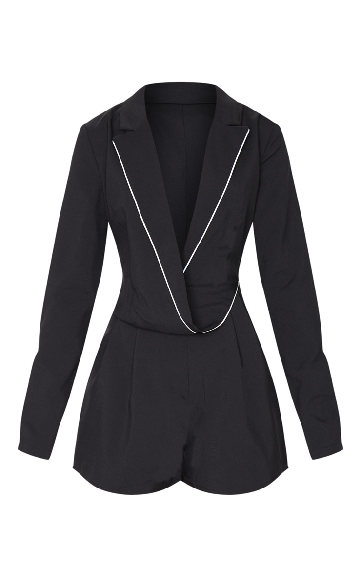Black Piping Detail Draped Blazer Playsuit 5