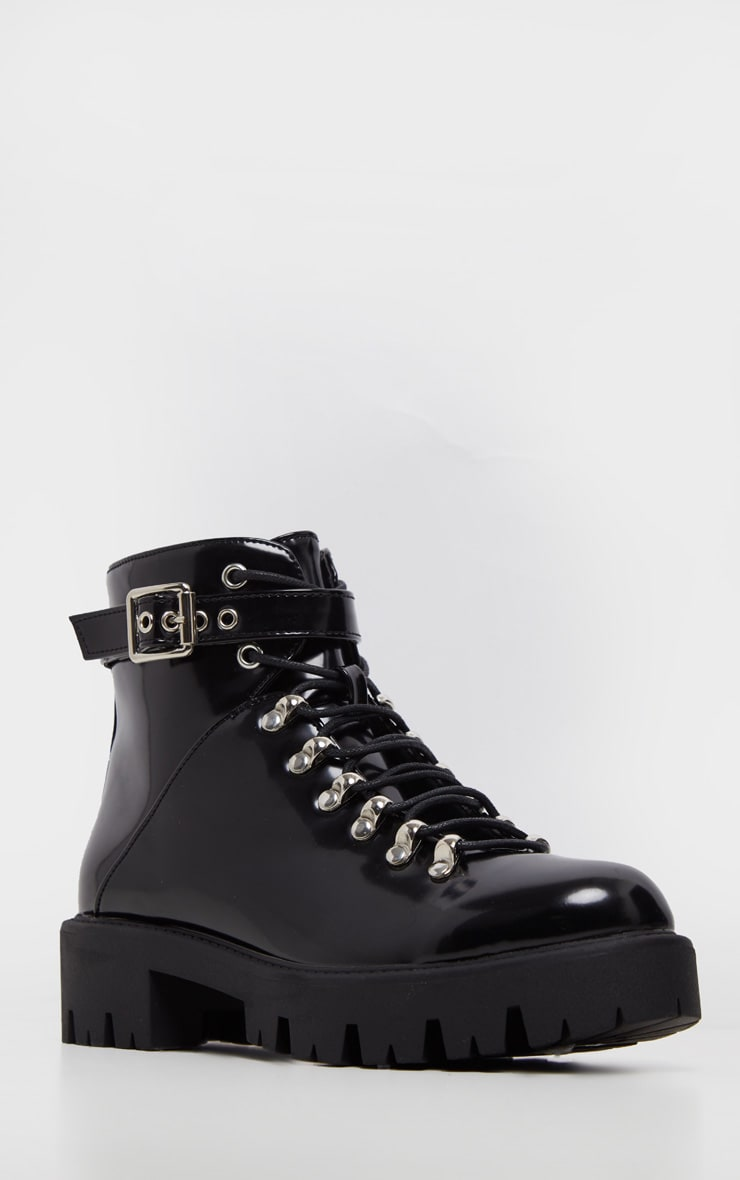 Black Hiker Lace Up Ankle Buckle Boot 4