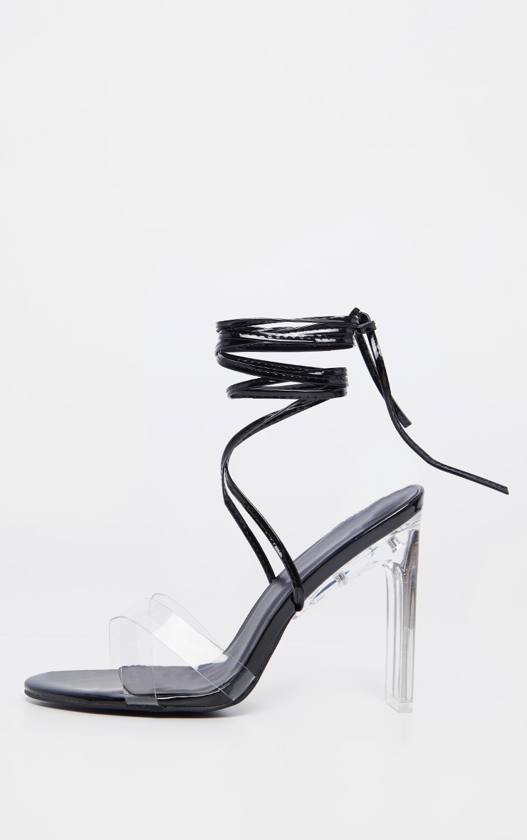Black Clear Heel Ankle Tie Sandal 4