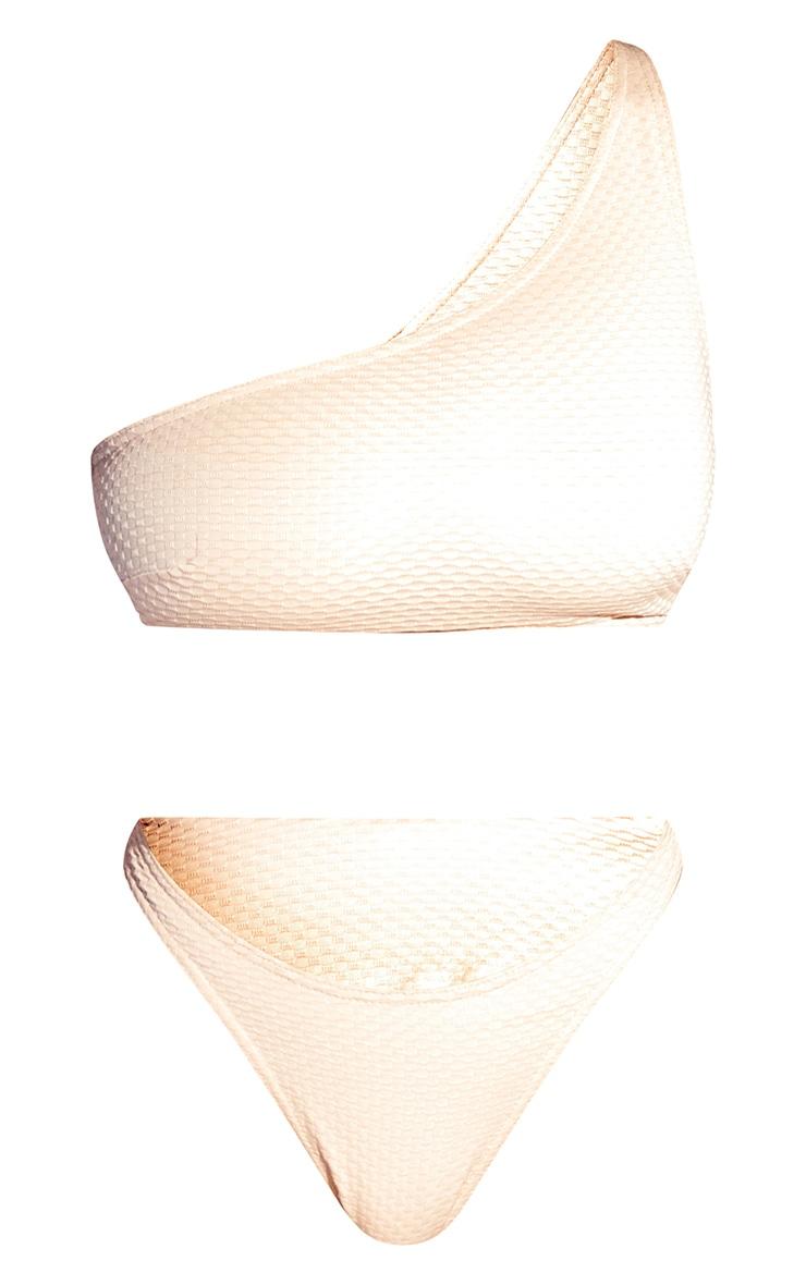 Peach Waffle One Shoulder Bikini Set 5