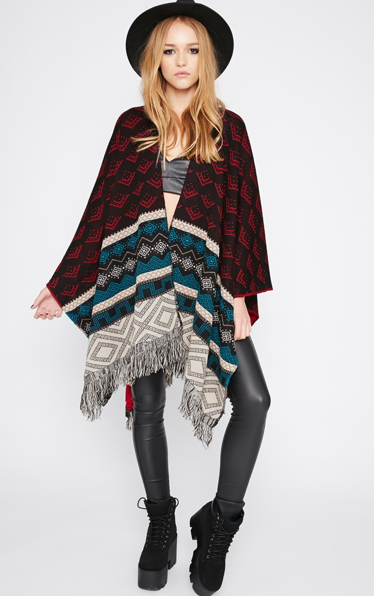 Melissa Multi Print Knitted Tassel Poncho -One Size 1