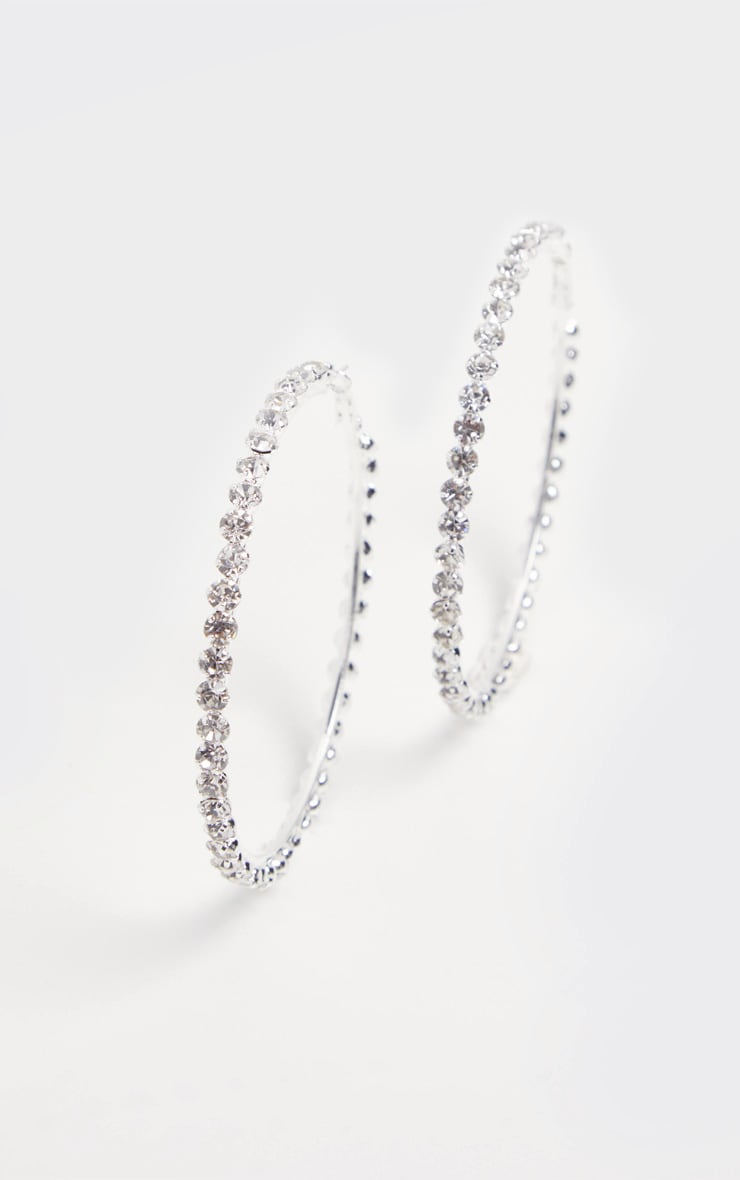 Silver Diamante Edged Hoops 3